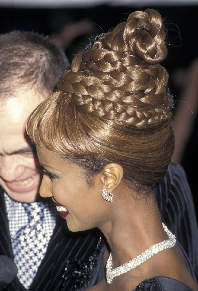 <p>Iman paid homage to Christian Dior with a coif as custom as the designer's couture.</p><p>The Costume Institute Gala Honors Christian Dior. Iman at the Costume Institute Honors Christian Dior. </p>