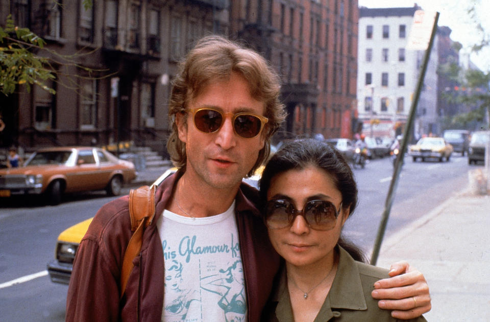 Rock star John Lennon (L) & his second wife Yoko Ono (R).  (Photo by David Mcgough/DMI/The LIFE Picture Collection via Getty Images/Getty Images)