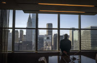 United Nations Secretary-General António Guterres looks at a view of New York from a conference room following an interview, Wednesday Oct. 21, 2020, at U.N. headquarters. (AP Photo/Bebeto Matthews)