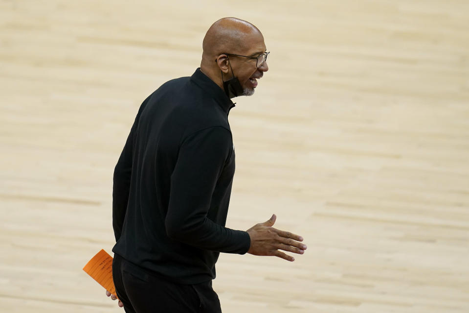 Phoenix Suns head coach Monty Williams gestures during the first half of Game 2 of basketball's NBA Finals between the Suns and the Milwaukee Bucks, Thursday, July 8, 2021, in Phoenix. (AP Photo/Ross D. Franklin)