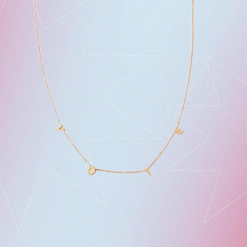 "$360, Kinn. <a href=""https://kinnstudio.com/collections/vote-collection/products/vote-necklace-i"" rel=""nofollow noopener"" target=""_blank"" data-ylk=""slk:Get it now!"" class=""link rapid-noclick-resp"">Get it now!</a>"