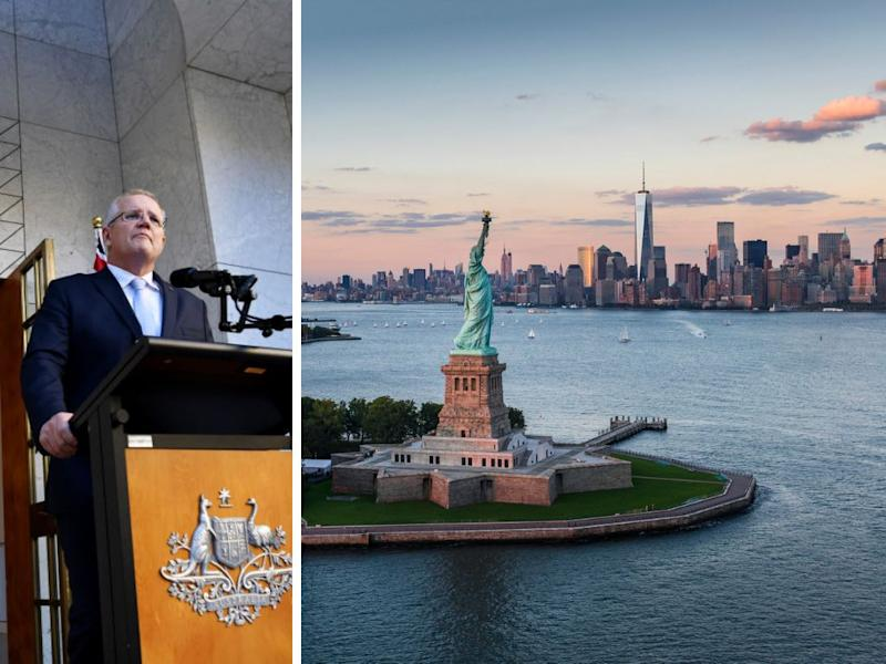 A photo of Prime Minister Scott Morrison and of the Statue of Liberty in New York, the city where most billionaires choose to live.