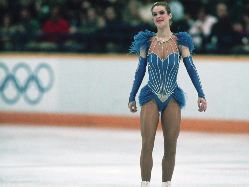 Katarina Witt in a feathered blue outfit at the 1988 olympics
