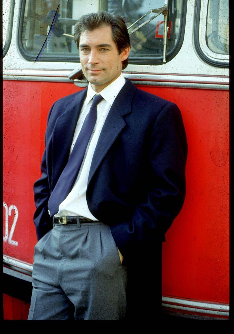 <p>Timothy Dalton on the set of The Living Daylights.</p>