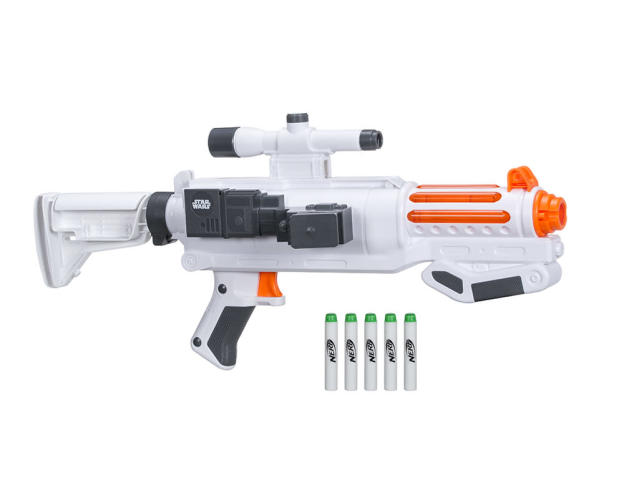 "<p>""Imagine commanding the troops of the First Order with the Nerf Glowstrike Captain Phasma Blaster! This five-dart barrel fires 1 dart at a time and makes after-dark battles possible with Glowstrike technology light effects and glow-in-the-dark darts."" $44.99 (Photo: Hasbro) </p>"