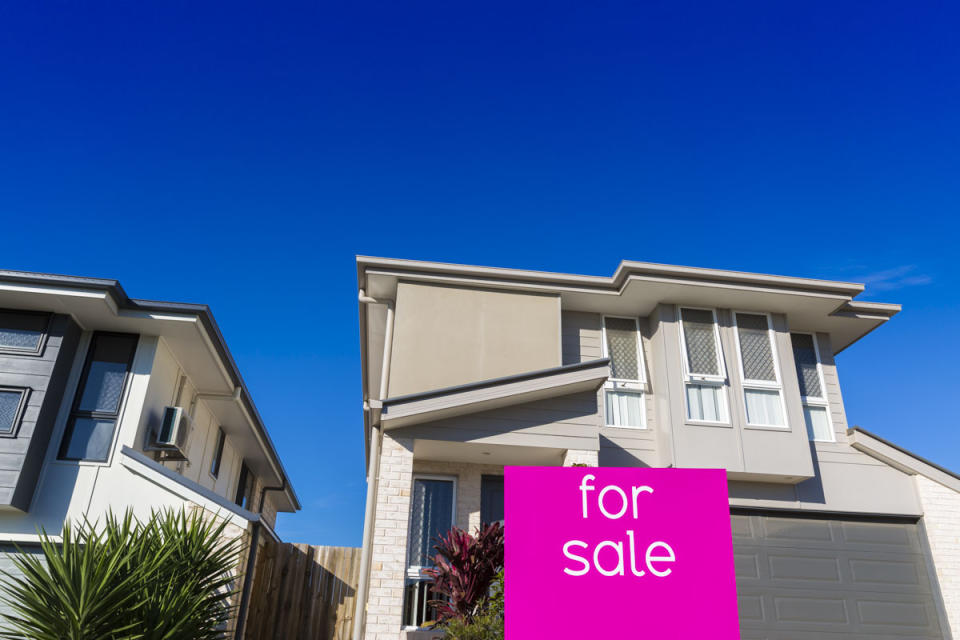 BRISBANE, AUSTRALIA - JUNE 10:  Property sales signage is displayed in North Lakes on June 10, 2016 in Brisbane, Australia. Economic forecasts suggest Brisbane is on track to overtake Melbourne when it comes to the rate of growth in home values next year. The Hedonic Home Value Index predicts low interest rates and better employment conditions will see Brisbane house values 5.8 per cent in 2016 and 6.1 per cent in 2017.  (Photo by Glenn Hunt/Getty Images)