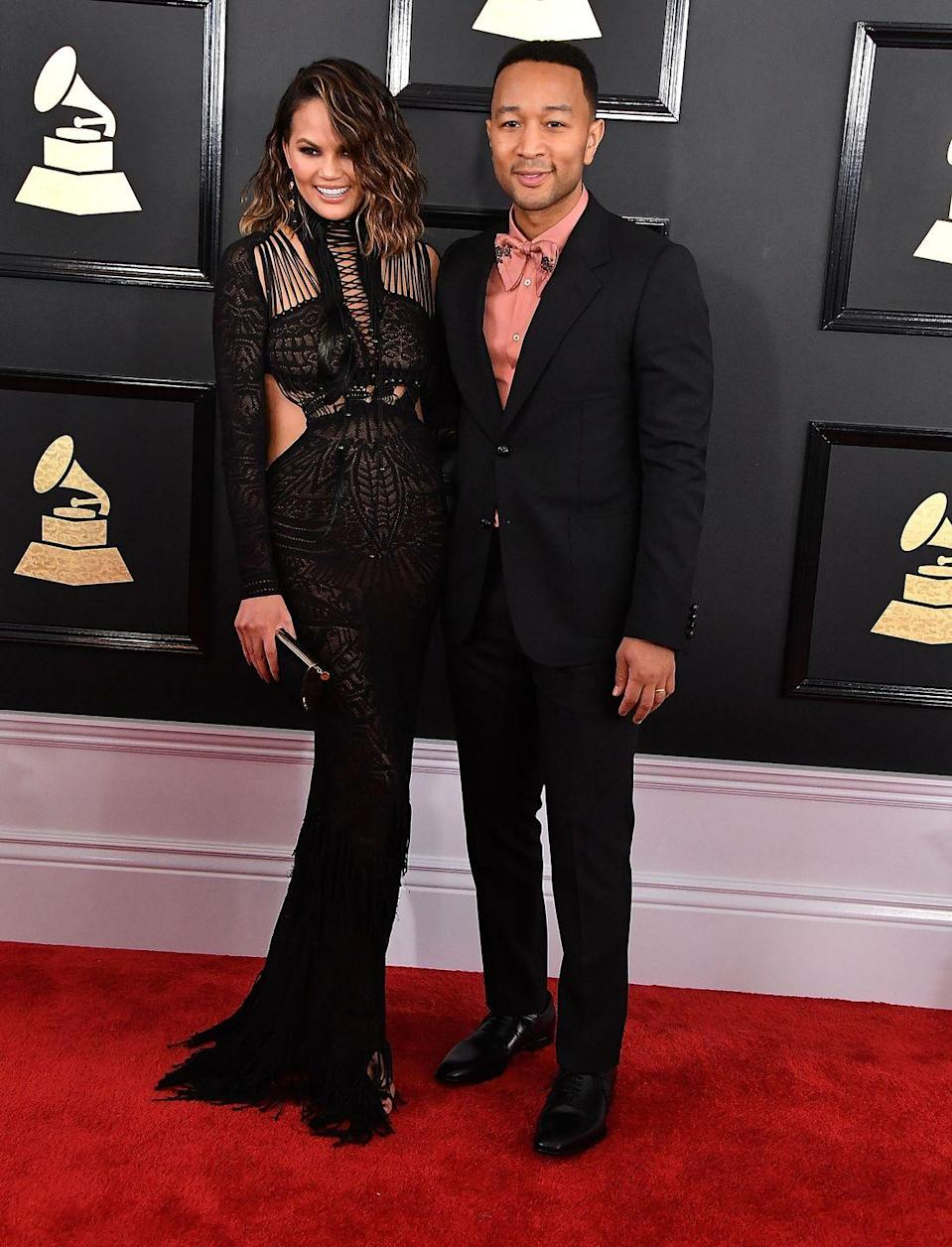 <p>Posing on the red carpet for the 2017 Grammy awards.</p>