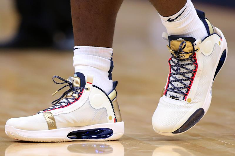 NEW ORLEANS, LOUISIANA - OCTOBER 11: Nike Air Jordan shoes are seen worn by Zion Williamson #1 of the New Orleans Pelicans during a game at the Smoothie King Center on October 11, 2019 in New Orleans, Louisiana. NOTE TO USER: User expressly acknowledges and agrees that, by downloading and or using this Photograph, user is consenting to the terms and conditions of the Getty Images License Agreement. (Photo by Jonathan Bachman/Getty Images)