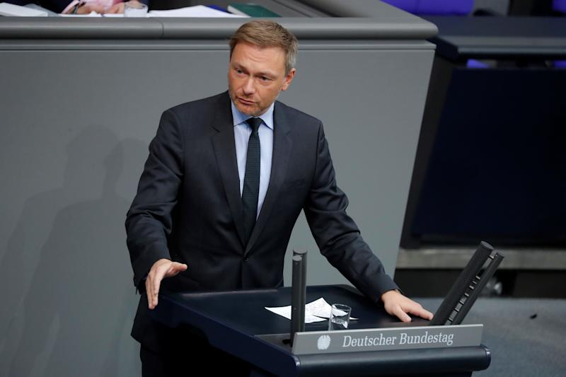 Christian Lindner, leader of Germany's free democratic FDP party, speaks during a session of the Bundestag (lower house of parliament), during which the motion of the FDP parliamentary group on immediate measures in the Corona crisis is discussed, on March 13, 2020 in Berlin. (Photo by Odd ANDERSEN / AFP) (Photo by ODD ANDERSEN/AFP via Getty Images)