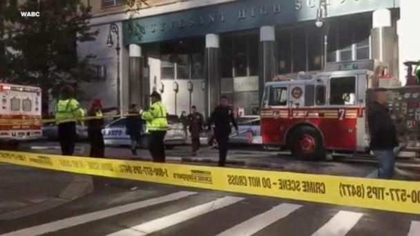 PHOTO: Scene where at least four were injured after being struck by a vehicle in lower Manhattan in New York City, Oct. 31, 2017. (WABC)