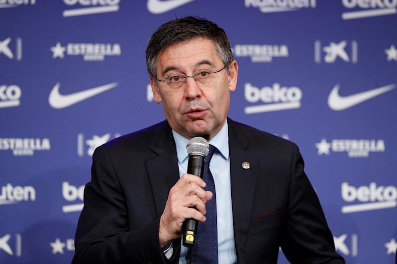 Barcelona denied a report the club hired a firm to protect president Josep Bartomeu's reputation and damage Lionel Messi's. (REUTERS/Albert Gea)