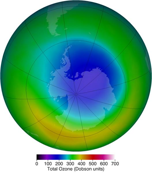 The area of the ozone hole, such as in October 2013 (above), is one way to view the ozone hole from year to year. However, the classic metrics have limitations, NASA scientists say.