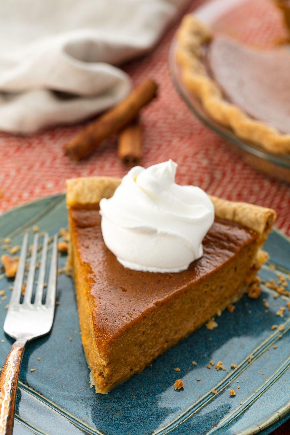 """<p>A fall staple.</p><p>Get the recipe from <a href=""""https://www.delish.com/cooking/recipe-ideas/recipes/a55688/easy-homemade-pumpkin-pie-recipe-from-scratch/"""" rel=""""nofollow noopener"""" target=""""_blank"""" data-ylk=""""slk:Delish"""" class=""""link rapid-noclick-resp"""">Delish</a>.</p>"""