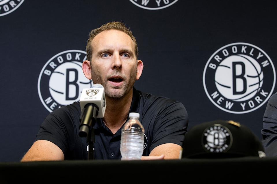 BROOKLYN, NY - JUNE 22: General Manager Sean Marks of the Brooklyn Nets speaks at the Post NBA Draft press conference with Dzanan Musa and Rodions Kurucs on June 22, 2018 at the HSS Training Center in Brooklyn, New York. NOTE TO USER: User expressly acknowledges and agrees that, by downloading and/or using this photograph, user is consenting to the terms and conditions of the Getty Images License Agreement. Mandatory Copyright Notice: Copyright 2018 NBAE (Photo by Michelle Farsi/NBAE via Getty Images)
