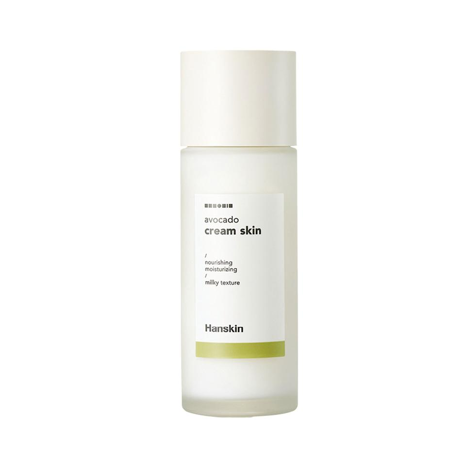 "<p>The Hanskin Avocado Cream Skin won an <a href=""http://www.allurekorea.com/2019/09/23/2019-%EC%96%B4%EC%9B%8C%EB%93%9C-%EC%8A%A4%ED%82%A8%EC%BC%80%EC%96%B4-%EB%B6%80%EB%AC%B8-%EC%9C%84%EB%84%88/"" rel=""nofollow""><em>Allure</em> Korea Best of Beauty Award</a> in 2019 in the moisturizing toner category. After washing your face, pat the milky liquid on to instantly add hydration. The toner-lotion hybrid contains avocado extract — as its name suggests — to soften and smooth your complexion, as well as a medley of nourishing oils.</p> <p>$30 (<a href=""https://shop-links.co/1686382354714823306"" rel=""nofollow"">Shop Now</a>)</p>"