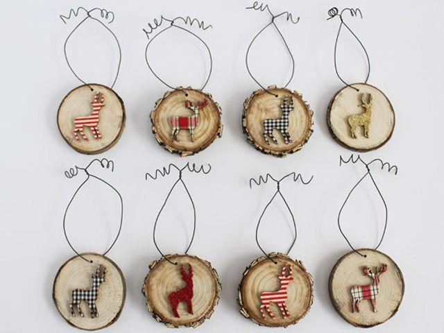 """<p>Use odds and ends from past craft projects to embellish wood slices and set the mood for a rustic Christmas. </p><p><strong>Get the tutorial at <a href=""""http://thediydreamer.com/christmas/deer-wood-slice-ornaments/"""" rel=""""nofollow noopener"""" target=""""_blank"""" data-ylk=""""slk:The DIY Dreamer"""" class=""""link rapid-noclick-resp"""">The DIY Dreamer</a>.</strong></p>"""