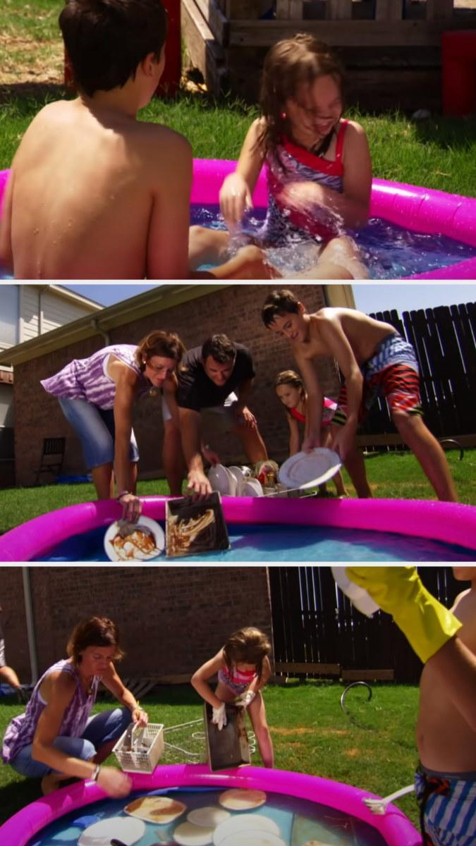 Kids playing in a blow up kiddie pool and then their family washing dishes in there