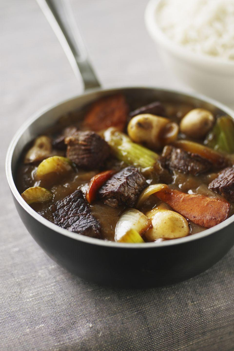 """<p>Serve up this stew for a hearty dinner brimming with Irish flavors.</p><p><a href=""""https://www.goodhousekeeping.com/recipefinder/rustic-lamb-stew-2142"""" rel=""""nofollow noopener"""" target=""""_blank"""" data-ylk=""""slk:Get the recipe for Rustic Lamb Stew »"""" class=""""link rapid-noclick-resp""""><em>Get the recipe for Rustic Lamb Stew »</em></a></p>"""