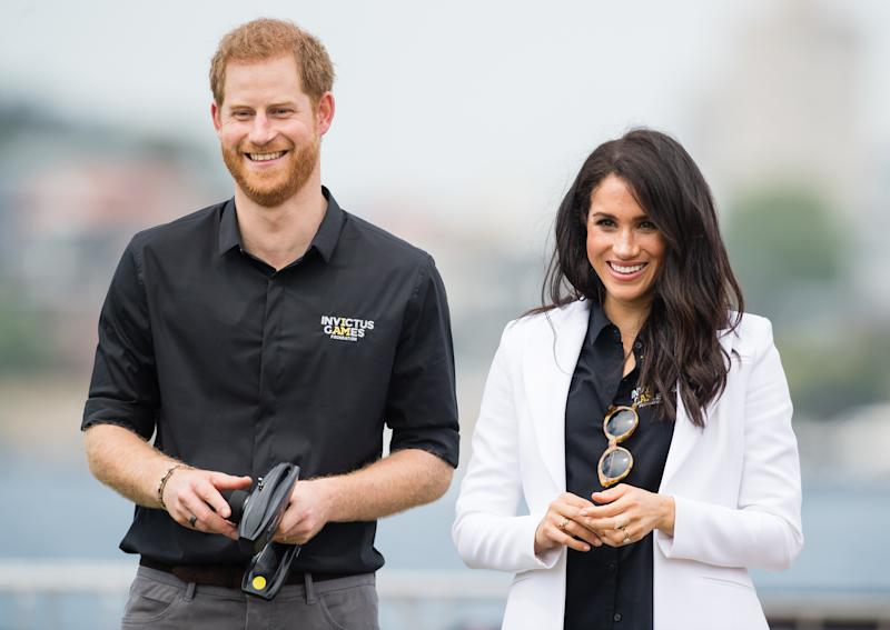 SYDNEY, AUSTRALIA - OCTOBER 20: Prince Harry, Duke of Sussex and Meghan, Duchess of Sussex attend the Jaguar Land Rover Driving Challenge at the Invictus Games on October 20, 2018 in Sydney, Australia. The Duke and Duchess of Sussex are on their official 16-day Autumn tour visiting cities in Australia, Fiji, Tonga and New Zealand. (Photo by Samir Hussein/Samir Hussein/WireImage)