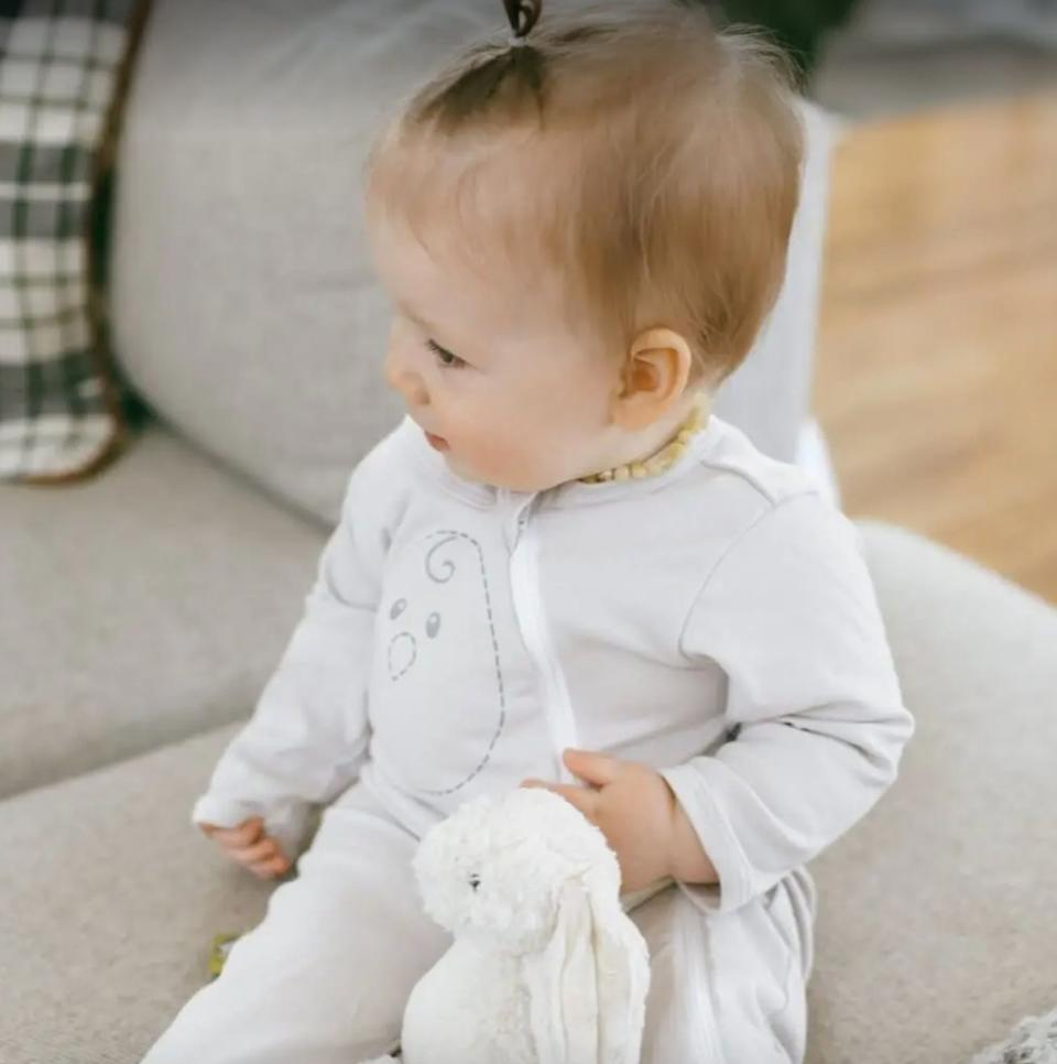 """Your kiddo can finally rest easy, thanks to this adorable outfit that's soft and lets them move comfortably when it's sleepy time.<br /><br /><strong>Promising review:</strong>""""Helps him sleep so soundly!! I used<a href=""""609c0cd1e4b014bd0ca6f04f"""" target=""""_blank"""" rel=""""nofollow noopener noreferrer"""" data-skimlinks-tracking=""""5189597