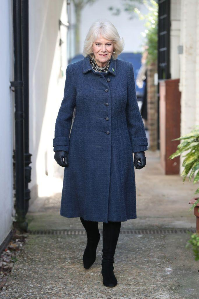 <p>The Duchess of Cornwall visited Barnardo's Child And Sexual Abuse Exploitation Services in London. For the chilly day, she sported a blue coat, a patterned scarf, black boots, and pearl earrings.</p>