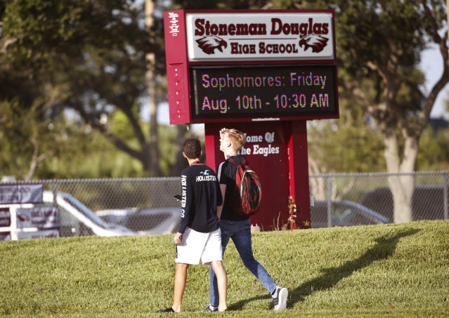Marjory Stoneman Douglas won its first home football game since February's massacre claimed 17 lives by a margin of 17 points. (AP/file)