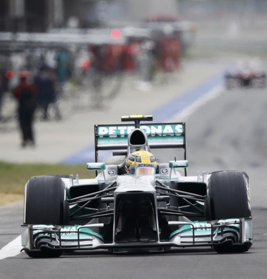 Mercedes Formula One driver Lewis Hamilton of Britain exits the pit lane during the Korean F1 Grand Prix at the Korea International Circuit in Yeongam, October 6, 2013. REUTERS/Lee Jae-Won (SOUTH KOREA - Tags: SPORT MOTORSPORT F1)