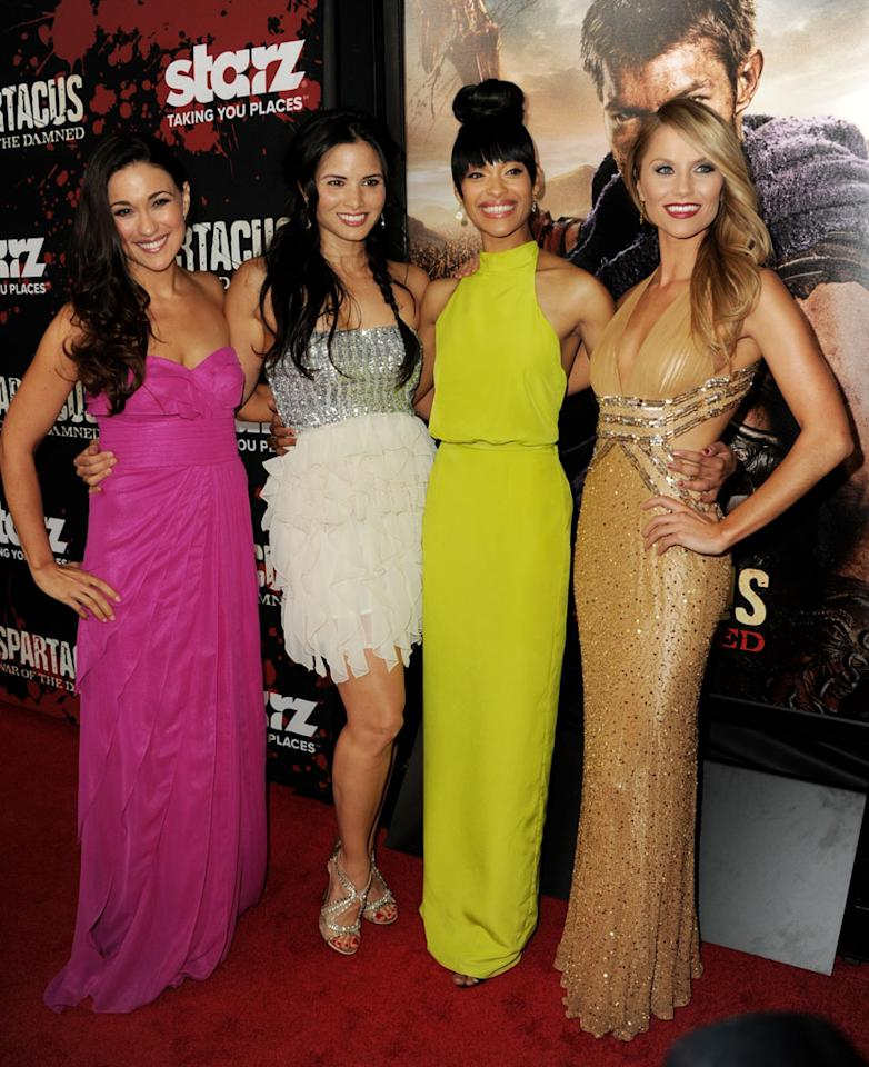 "Jenna Lind, Katrina Law, Cynthia Addai-Robinson and Ellen Hollman attends the premiere of Starz's ""Spartacus: War of the Damned"" at Regal Cinemas L.A. Live on January 22, 2013 in Los Angeles, California."