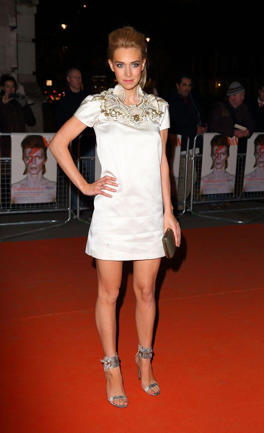 <p>In a Gucci ensemble for the private viewing of <em>David Bowie Is.</em></p>