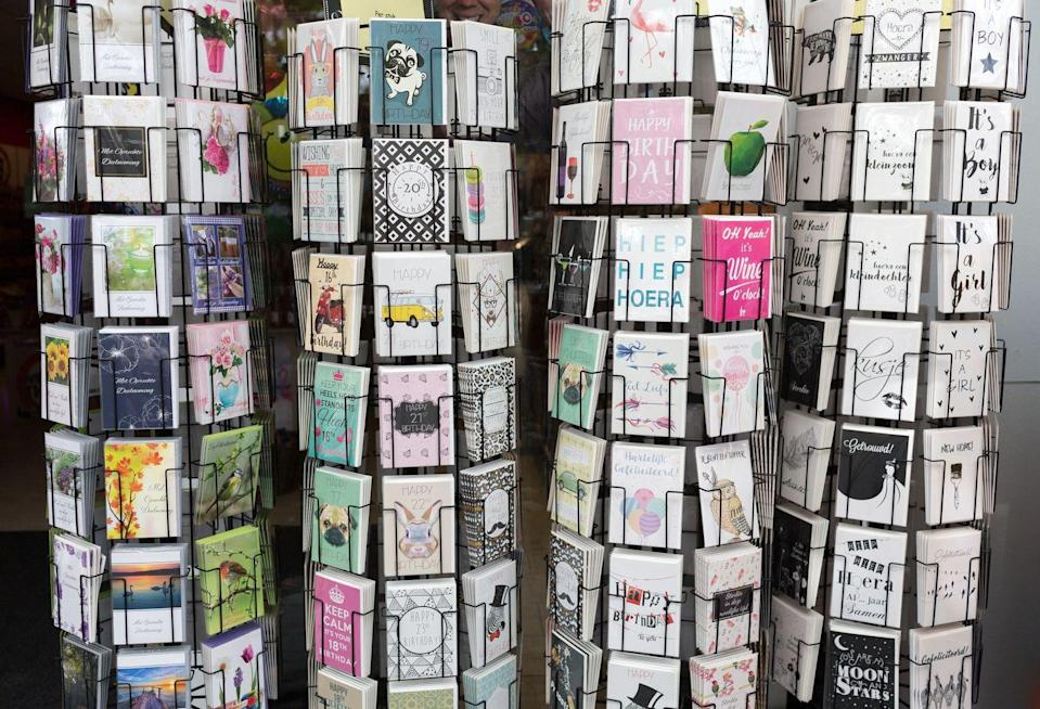 """<p>""""Despite the abundance of cards and party supplies at your local grocer, the dollar store is a much better place to pick up these items,"""" says Perez. Stock up on cards at <a href=""""https://www.womansday.com/life/work-money/g2067/things-to-always-buy-at-dollar-store/"""" rel=""""nofollow noopener"""" target=""""_blank"""" data-ylk=""""slk:the dollar store"""" class=""""link rapid-noclick-resp"""">the dollar store</a> (usually 50 cents each) so you won't be tempted by the grocery store's $5 cards.</p>"""