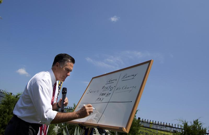 Republican presidential candidate, former Massachusetts Gov. Mitt Romney speaks with the media after arriving at Spartanburg International Airport, Thursday, Aug. 16, 2012, in Greer, S.C . (AP Photo/Evan Vucci)