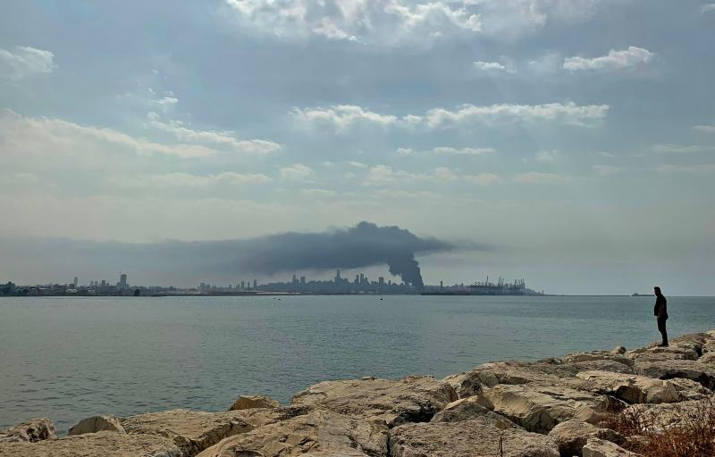 A picture taken from Dbayeh, north of Beirut, shows smoke from a huge fire raging at the port in the Lebanese capital on September 10, 2020. - Thick black columns of smoke rose into the sky, as the army said it had engulfed a warehouse storing engine oil and vehicle tyres. (Photo by Joseph EID / AFP) (Photo by JOSEPH EID/AFP via Getty Images)