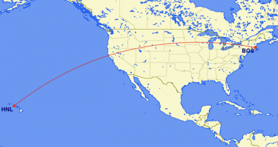 Long hop: the route of the Hawaiian Airlines flight between Boston (BOS) and Honolulu (HNL) (Great Circle Mapper)