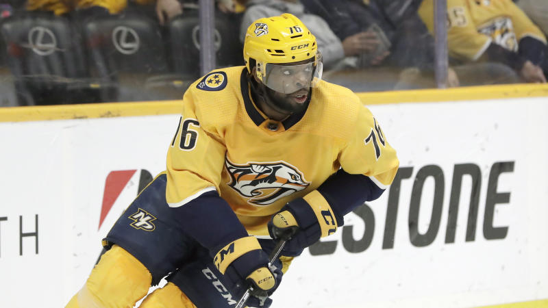 FILE - In this Feb. 25, 2019, file photo, Nashville Predators defenseman P.K. Subban plays in an NHL hockey game in Nashville, Tenn. The Devils are doing all they can to make sure Taylor Hall re-signs long term rather than leaving in free agency next summer. They traded for Subban, drafted Jack Hughes first overall and signed Wayne Simmonds to make significant offseason upgrades. Hall wants to see New Jersey look like a Stanley Cup contender before he commits to anything. (AP Photo/Mark Humphrey, File)