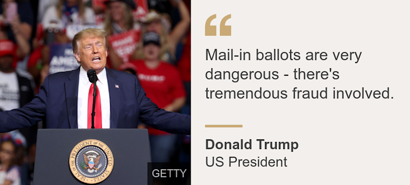 """""""Mail-in ballots are very dangerous - there's tremendous fraud involved."""", Source: Donald Trump, Source description: US President, Image:"""