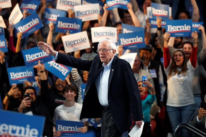 Sen. Bernie Sanders during a campaign rally at the University of Houston on Sunday. (AP)