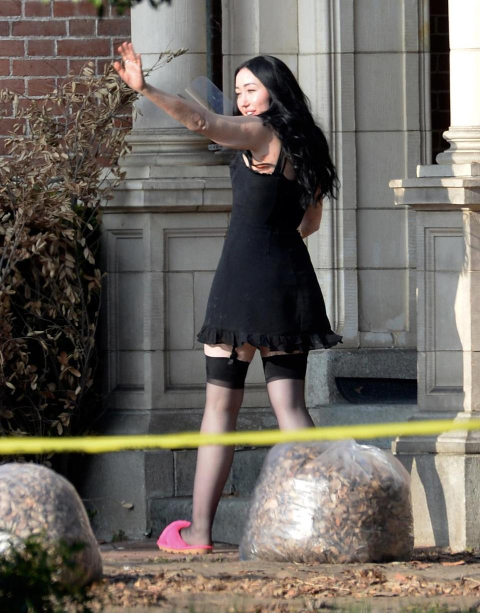 <p>Noah Cyrus hits the set of <em>American Horror Story</em> in downtown L.A. on July 26. </p>