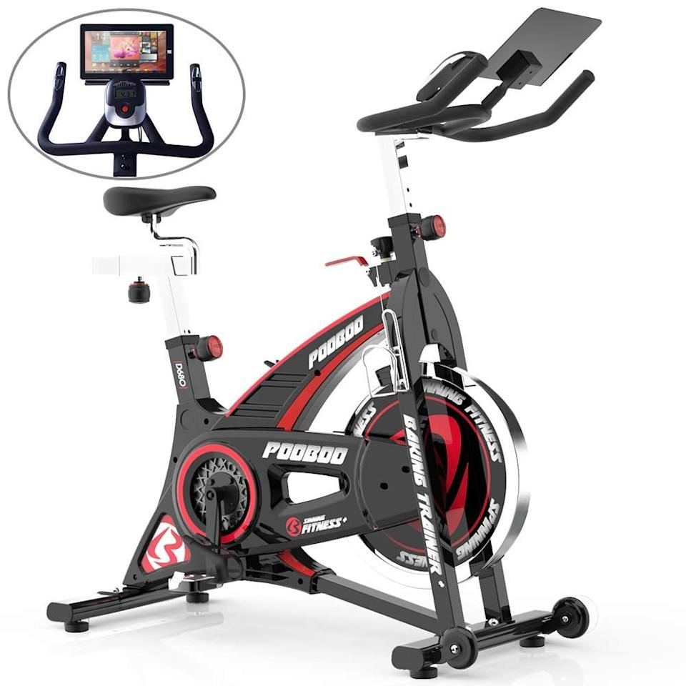 "<p>This <a href=""https://www.popsugar.com/buy/Pooboo-Indoor-Cycling-Stationary-Bike-548330?p_name=Pooboo%20Indoor%20Cycling%20Stationary%20Bike&retailer=amazon.com&pid=548330&price=338&evar1=fit%3Aus&evar9=45999467&evar98=https%3A%2F%2Fwww.popsugar.com%2Ffitness%2Fphoto-gallery%2F45999467%2Fimage%2F45999933%2FPooboo-Indoor-Cycling-Stationary-Bike&list1=shopping%2Camazon%2Ceditors%20pick%2Cworkouts%2Cfitness%20gear%2Chome%20workouts%2Cfitness%20shopping&prop13=api&pdata=1"" rel=""nofollow"" data-shoppable-link=""1"" target=""_blank"" class=""ga-track"" data-ga-category=""Related"" data-ga-label=""https://www.amazon.com/pooboo-Cycling-Stationary-Exercise-Workout/dp/B07RWMCF29?ref_=ast_sto_dp&amp;th=1&amp;psc=1"" data-ga-action=""In-Line Links"">Pooboo Indoor Cycling Stationary Bike</a> ($338) that was given to me by a friend, and I love it so much. If you're looking to spend just a couple hundred dollars, the brand has this more-affordable one that currently boasts a five-star rating. Sounds like a win-win to me.</p>"