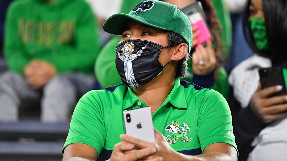 A Notre Dame fan, pictured here before the game against Clemson Tigers.