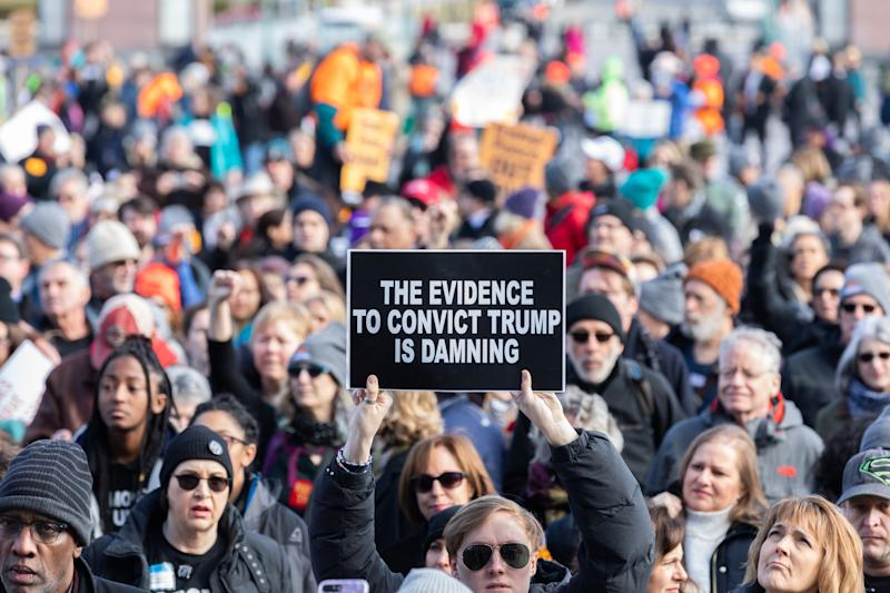 Activists participates in a rally calling for witnesses in the Senate impeachment trial of U.S. President Donald Trump at the U.S. Capitol in Washington, D.C. January 29, 2020. (Aurora Samperio/NurPhoto via Getty Images)