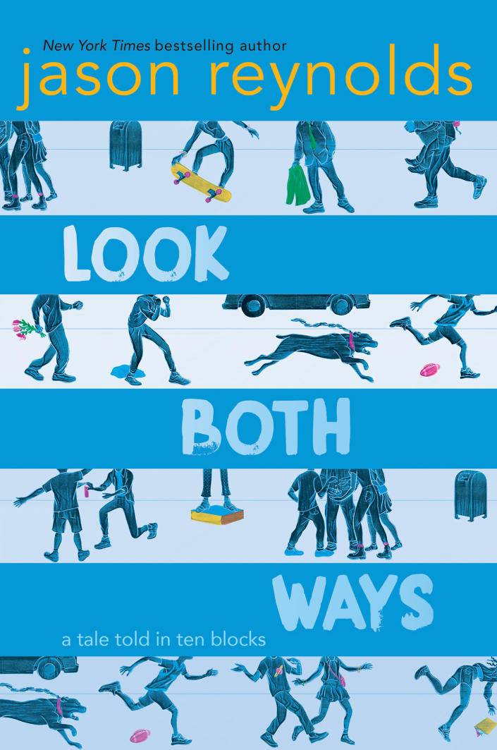 """This cover image released by Atheneum/Caitlyn Dlouhy Books shows """"Look Both Ways: A Tale Told in Ten Blocks,"""" by Jason Reynolds. The book is among this year's finalists for the 70th annual National Book Awards. The winners will be announced Nov. 20 at a benefit dinner presented by the National Book Foundation in New York. (Atheneum/Caitlyn Dlouhy Books via AP)"""