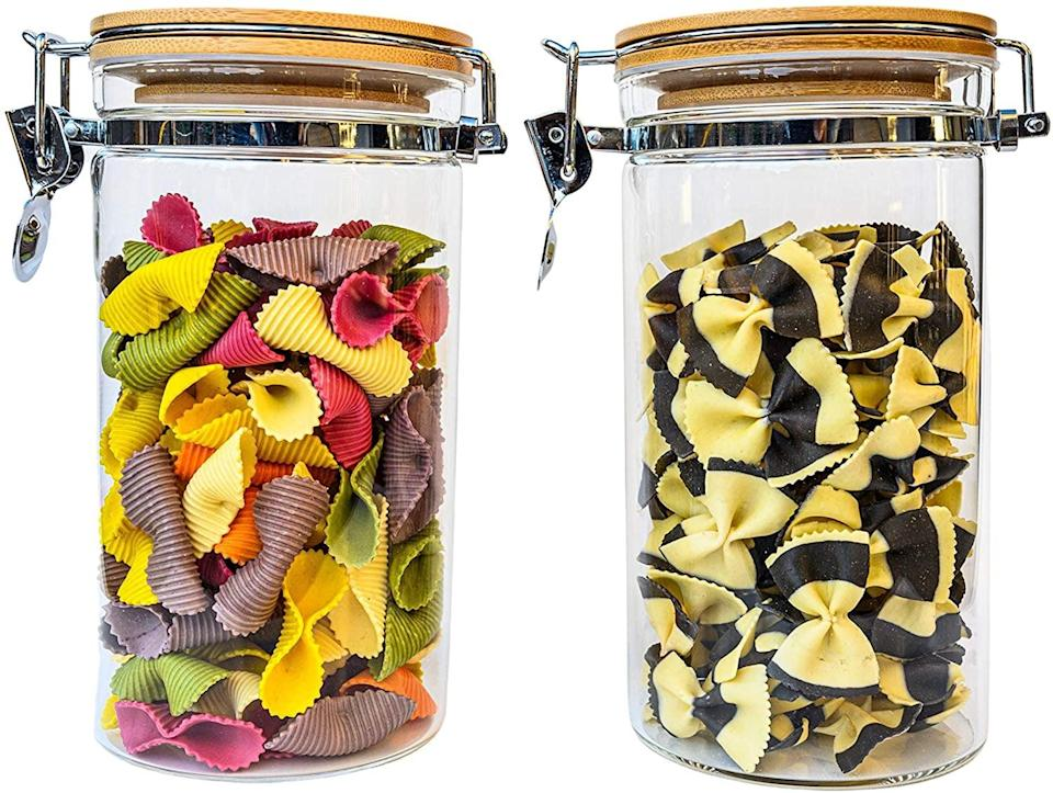 <p>Fill your pantry and kitchen with these <span>Airtight Glass Canister Set of 2 with Hinged Bamboo Lids</span> ($16, originally $25).</p>