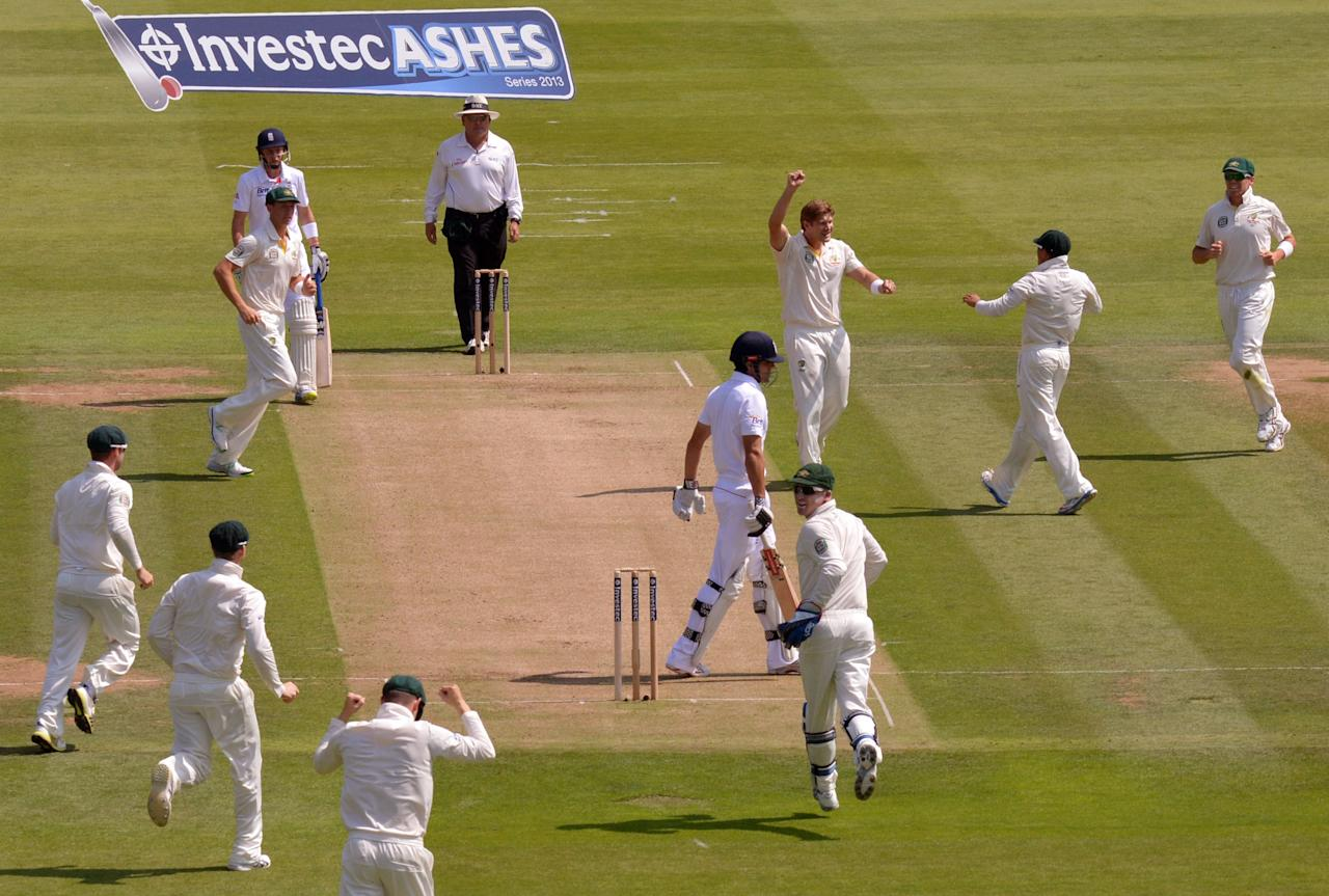 Australia's Shane Watson celebrates taking the wicket of England's Alastair Cook on day One of the Second Investec Ashes Test at Lord's Cricket Ground, London.