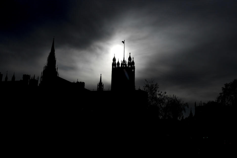 The Victoria Tower in Westminster, in London, Tuesday, Nov. 24, 2020. Haircuts, shopping trips and visits to the pub will be back on the agenda for millions of people when a four-week lockdown in England comes to an end next week, British Prime Minister Boris Johnson said Monday. (AP Photo/Alberto Pezzali)