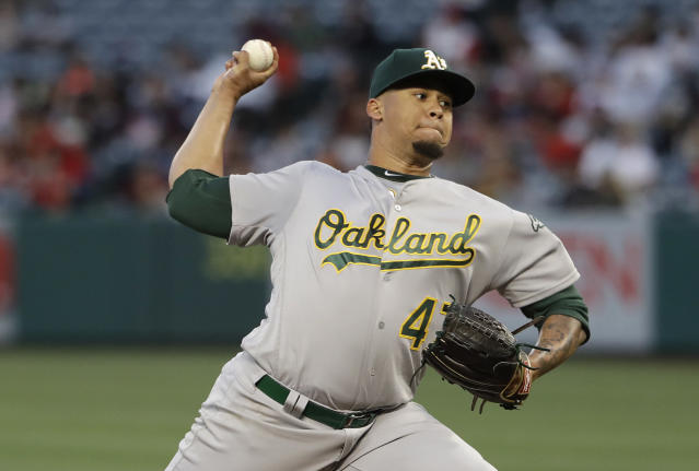 Oakland Athletics starting pitcher Frankie Montas throws to a Los Angeles Angels batter during the second inning of a baseball game Tuesday, June 4, 2019, in Anaheim, Calif. (AP Photo/Marcio Jose Sanchez)