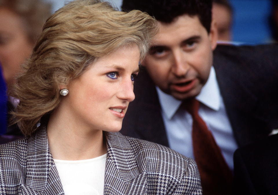 STAMFORD, UNITED KINGDOM - SEPTEMBER 10:  Princess Diana With Her Private Secretary Patrick Jephson At The Burghley Horse Trials Stamford, Lincolnshire  (Photo by Tim Graham Photo Library via Getty Images)