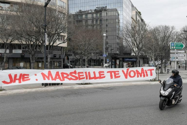 Protest: A banner hung by Marseille fans against club president Jacques-Henry Eyraud that reads in French 'JHE: Marseille vomits you'