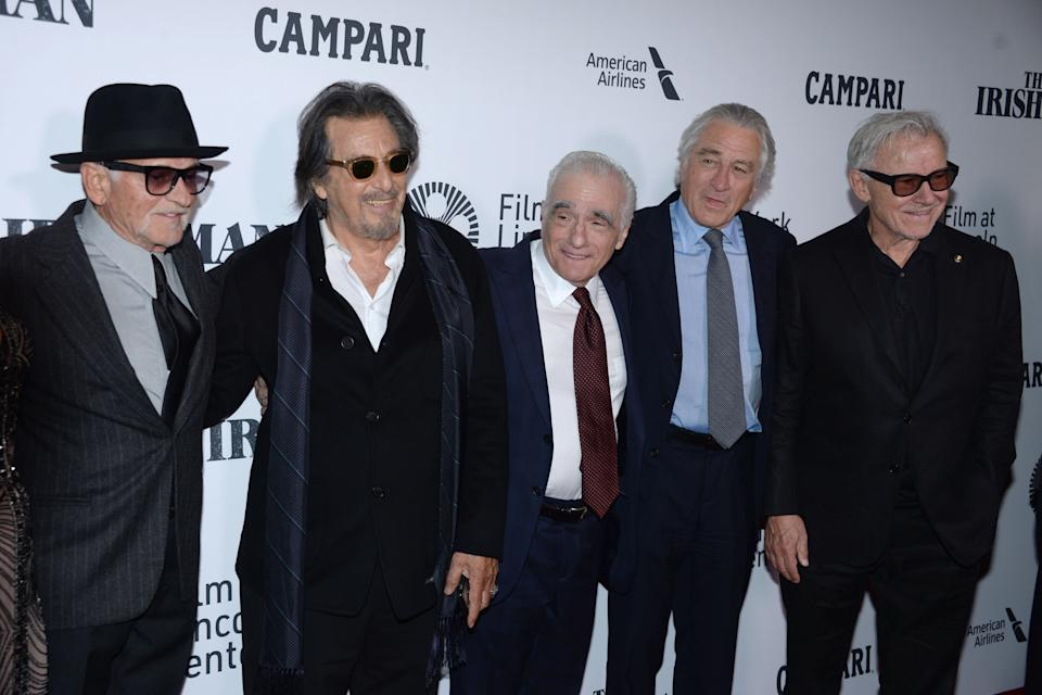 "NEW YORK, NEW YORK - SEPTEMBER 27: Joe Pesci, Al Pacino, Martin Scorsese, Robert De Niro and Harvey Keitel attend NYFF57 Opening Night Gala Presentation & World Premiere of ""The Irishman"" on September 27, 2019 at Alice Tully Hall, Lincoln Center in New York City. (Photo by Paul Bruinooge/Patrick McMullan via Getty Images)"