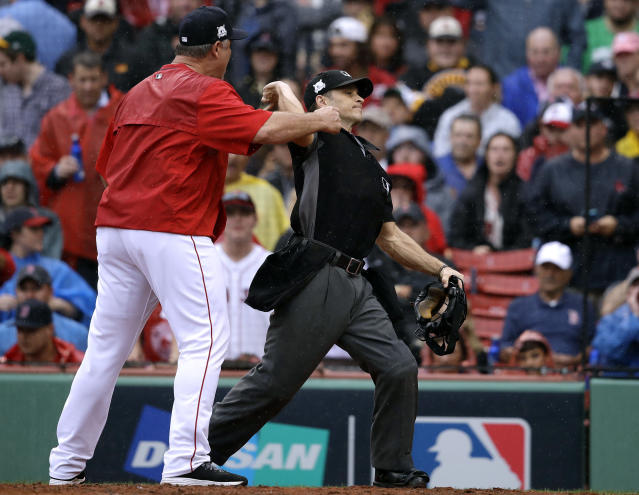 Red Sox manager John Farrell is ejected in the second inning of ALDS Game 4. (AP)
