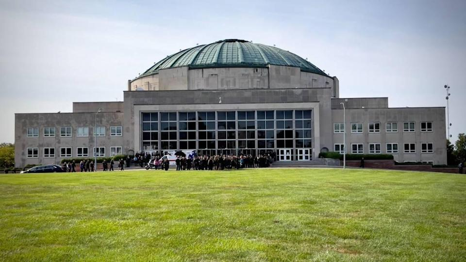 Outside the Community of Christ Church auditorium in Independence, funeral services were about to begin Friday, Sept. 24, 2021, for Blaize Madrid-Evans, an Independence police officer who was killed while on duty.